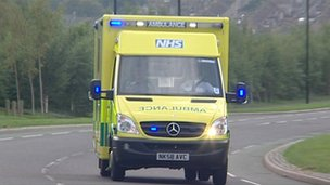 Ambulance responds to an emergency call