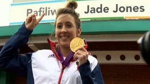 Jade Jones outside Flint leisure centre