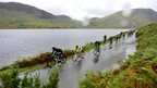 Cyclists by Crummock Water near Keswick