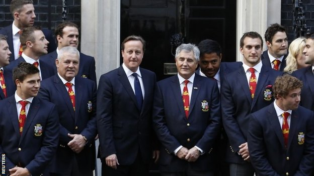 Lions team meet David Cameron