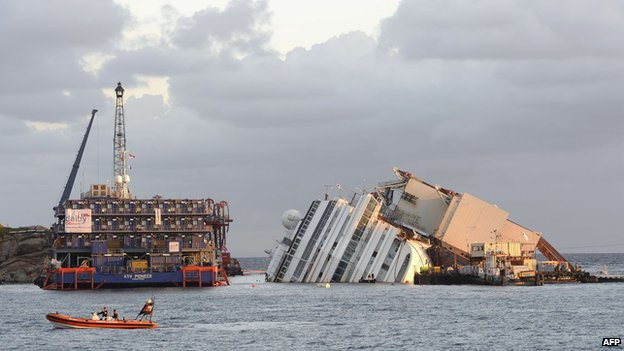 Members of the US salvage company Titan and Italian firm Micoperi work at the wreck of Italy's Costa Concordia cruise ship near the harbour of Giglio Porto