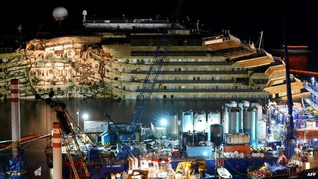 The wreck of Italy's Costa Concordia cruise ship begins to emerge from water on 17 September 2013 near Giglio port