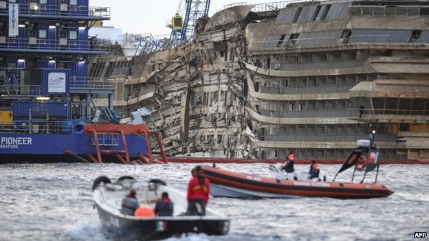 The Costa Concordia has been pulled upright in a major salvage operation off the coast of Italy.