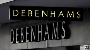 Debenhams store sign