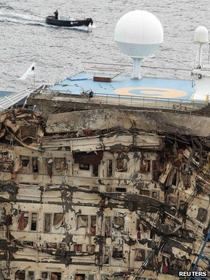 Damaged side of the Costa Concordia