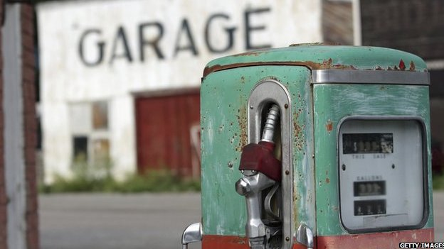 Old style petrol pump