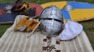 Helmet and shield at Fort George