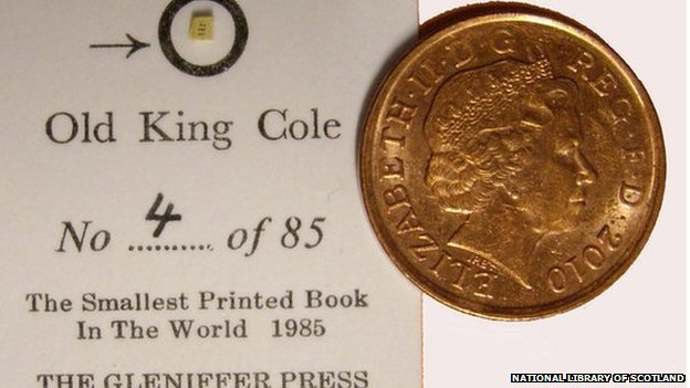 Old King Cole, seen here next to a 1p coin, was the smallest printed book in the world
