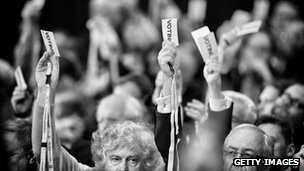 delegates voting in glasgow conference hall