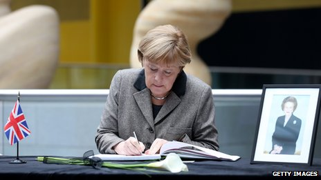 Merkel signs book of condolences for Margaret Thatcher