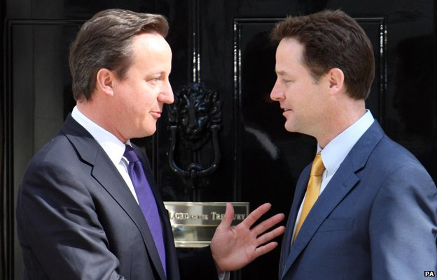 David Cameron and Nick Clegg outside No. 10