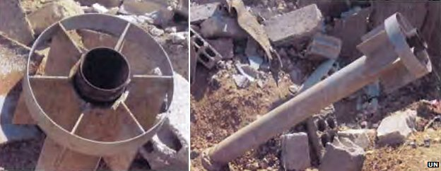 Images from the UN report of the rockets found in Ein Tarmar and Zamalka