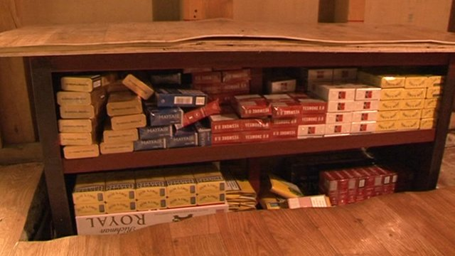 Some fake cigarettes were found hidden in an under-floor cabinet