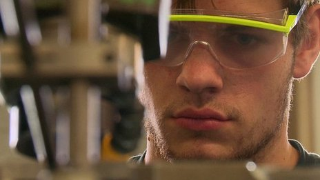 An apprentice at Siemens's training centre, Berlin
