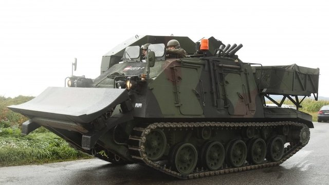 An Austrian army vehicle