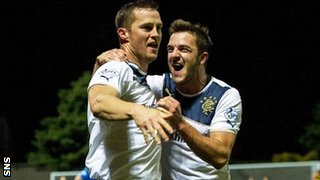 Rangers players Jon Daly and Andy Little