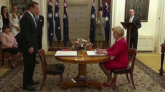 Tony Abbott sworn in as Australian PM