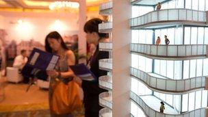 A model of a luxury property development in Beijing