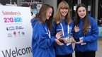 School Reporters Emillia, Cathryn and Jade from Tendring Technology College with their award