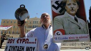 Athens anti-Merkel protester