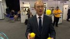 Tim Farron with yellow balls