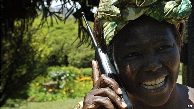 Wangari Maathai in Nyeri, Kenya, on 8 October 2004