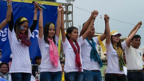Young activists who are part of the opposition in Cambodia