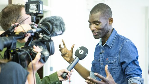 Wretch 32 talking to Newsbeat on the set of Track Tests