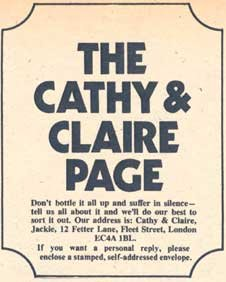 The Cathy and Claire page was a lifeline for many young girls