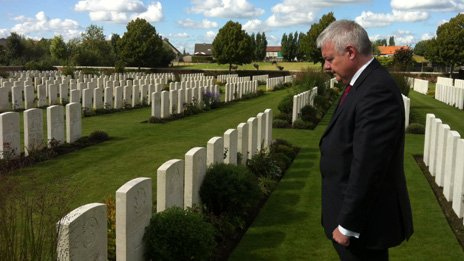First Minister Carwyn Jones visited Flanders on Wednesday