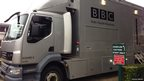 The BBC outside broadcast van arrives at Southend High School for Girls