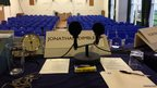 The view from Jonathan Dimbleby's seat for the 'Any Questions?' debate