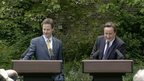 MAY 12th 2010: Prime Minister David Cameron and Deputy Prime Minister Nick Clegg during their first joint press conference in the Downing Street garden.