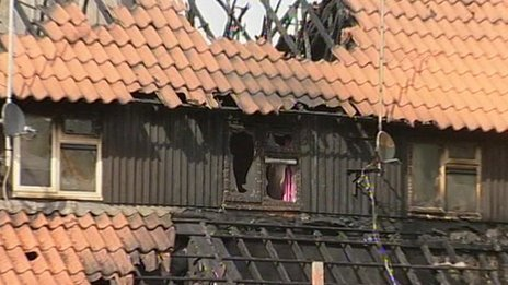 Fire-damaged homes in Basildon
