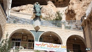 A picture shows Mar Takla Greek Orthodox monastery in the Syrian Christian town of Maaloula