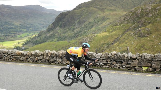 Sir Bradley Wiggins ascending Pen y Pass