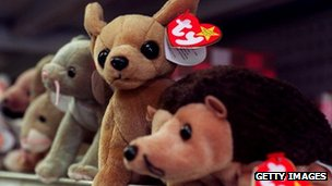 Beanie Babies on store shelf