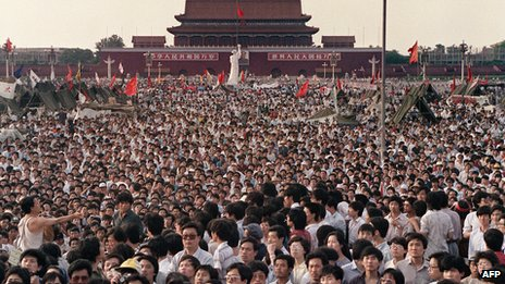 This file photo taken on 2 June 1989 shows hundreds of thousands of Chinese in Tiananmen Square demanding democracy despite martial law in Beijing