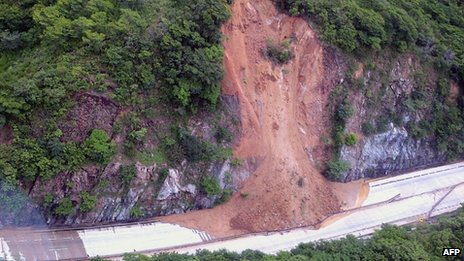 Aerial view of a landslide along a highway going to Acapulco on 18 September 2013