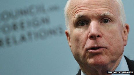 US Senator John McCain accused Russia's president of supporting tyrants.
