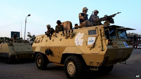Egyptian security forces taking part in the operation in Kerdasa