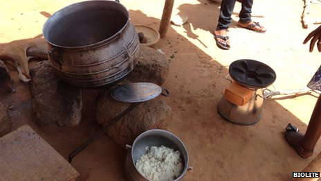 A traditional three-stone stove in Ghana