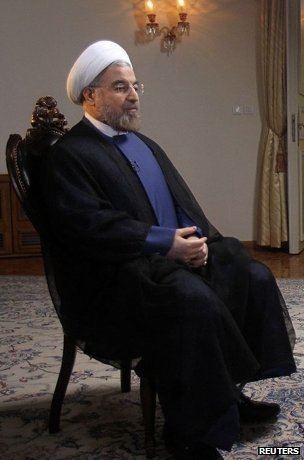 Iranian President Hassan Rouhani during an interview with the US television network NBC in Tehran, in this picture taken 18 September 18, 2013, and provided by the Iranian Presidency.