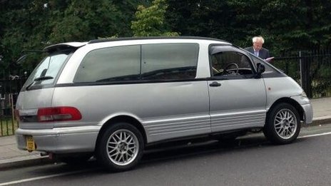 Replica of minicab which Mark Duggan was travelling in