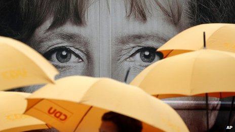Poster showing Angela Merkel's eyes