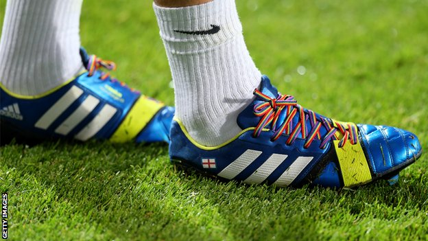 Joey Barton wearing rainbow laces