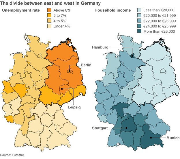 Map showing income disparities in Germany