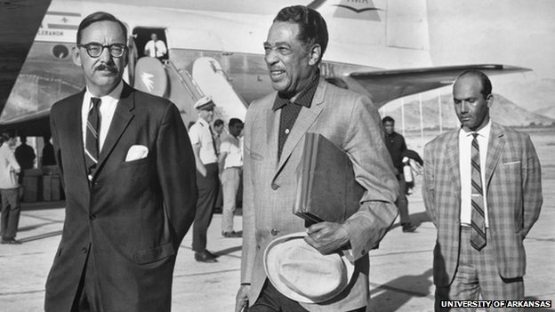 Duke Ellington Arriving in Kabul, 1963.  CU Collection Box 345:10.  Special Collections, University of Arkansas Libraries, Fayetteville