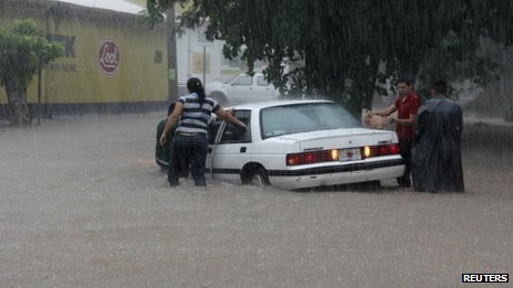 Flooded street in Culiacan, Mexico