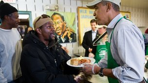 US President Barack Obama at a soup kitchen